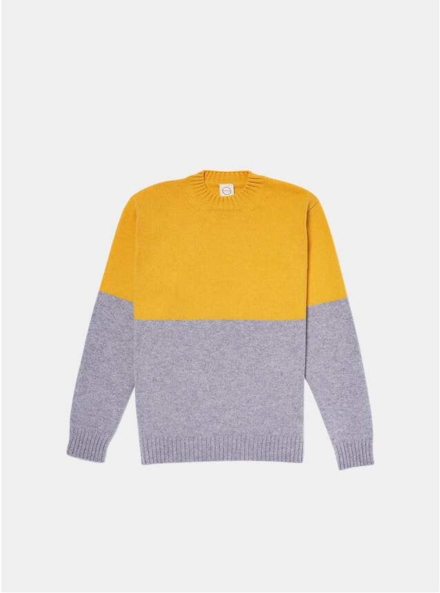 Yellow / Grey Updown Knitted Crew