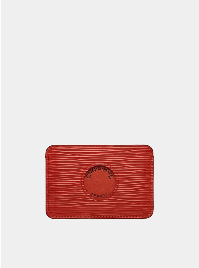 Single Cut Out Card Holder in red leather