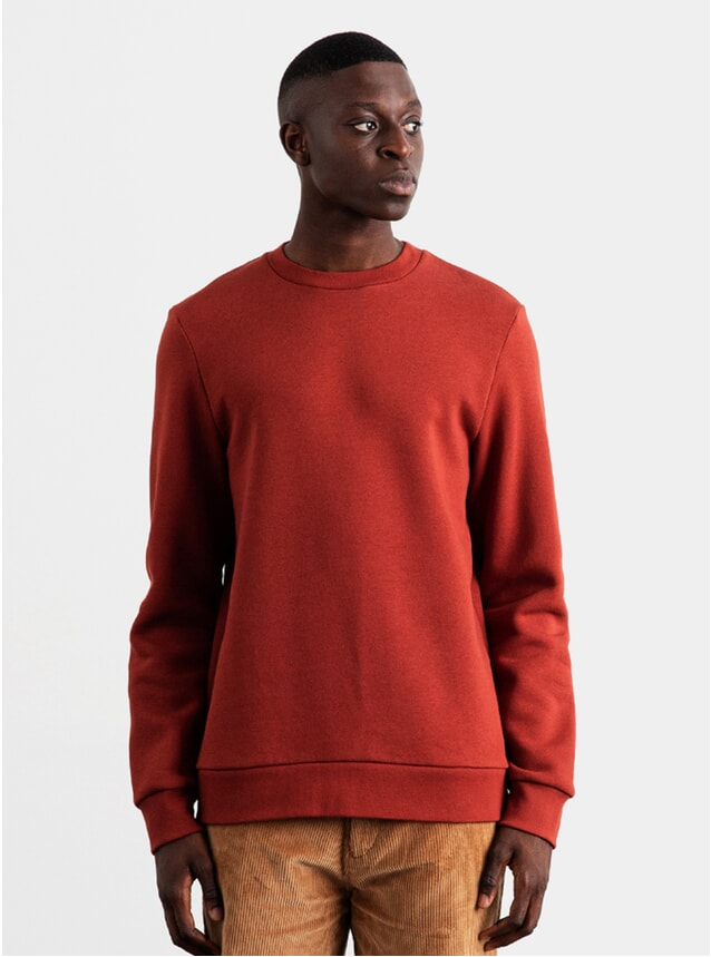 Brick Red Sturdy Fleeceback Sweatshirt