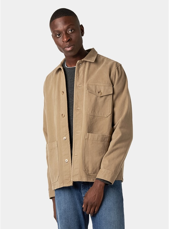 Khaki Sturdy Twill Patch Pocket Overshirt
