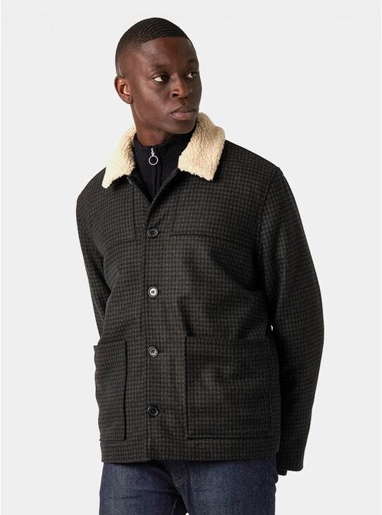 Moss Dogtooth Wool Jacket