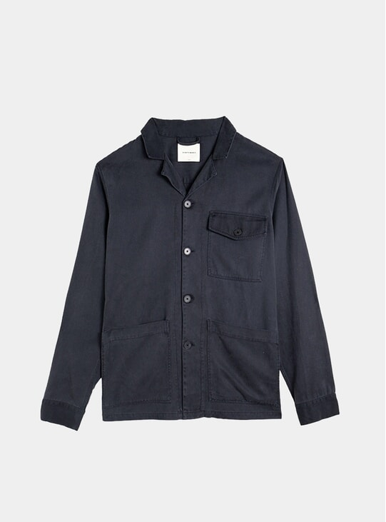 Navy Tencel Camp Collar Overshirt