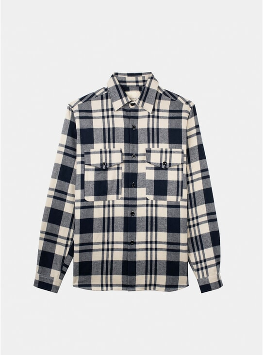 Off White / Navy Checked Flannel Heavy Shirt