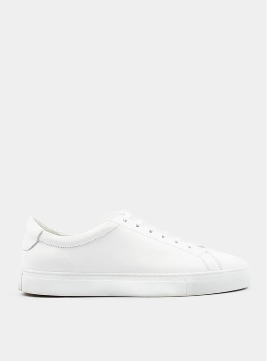 White Leather Marching Suede Sneakers