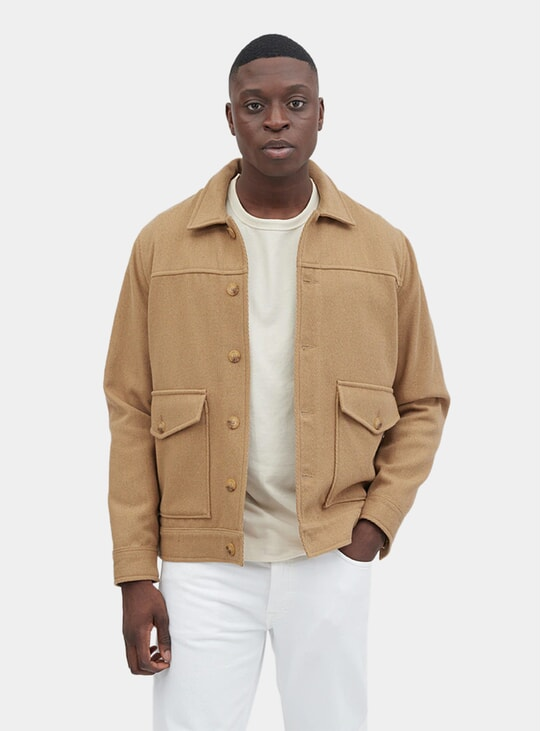 Camel Shoulder Patch Jacket