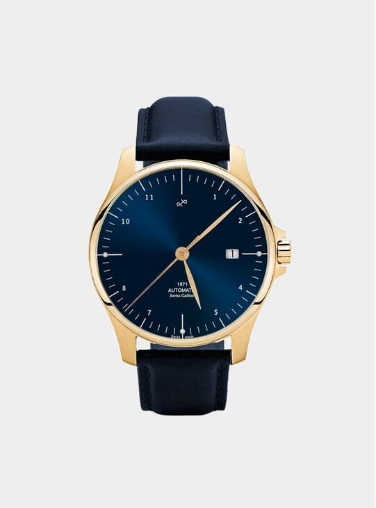Night Blue Sunray / Gold 1971 Swiss Made Automatic Watch