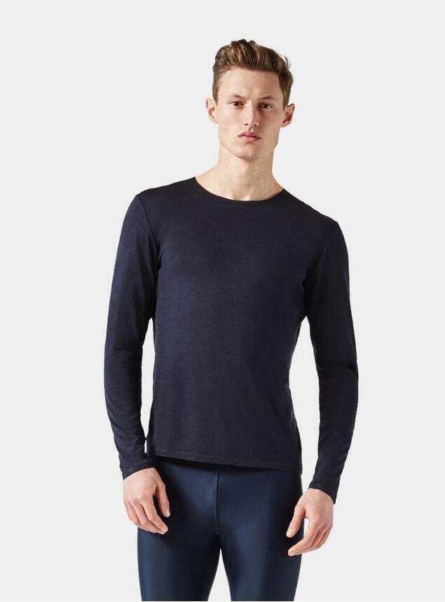 Dark Blue Long Sleeve Jersey T Shirt