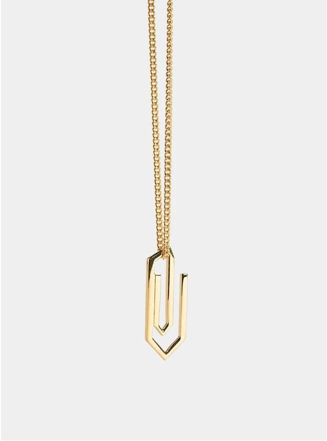 Gold Paper Clip Pendant