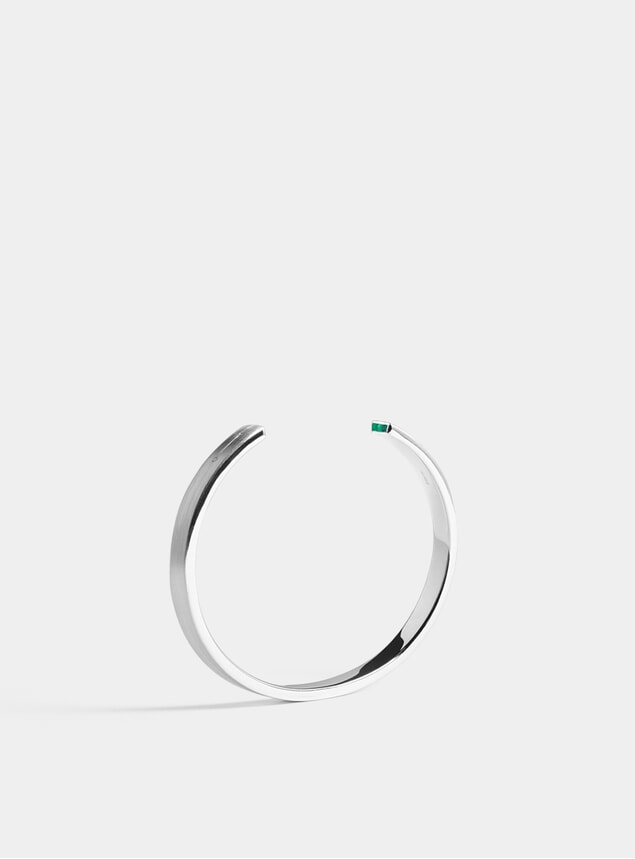 Silver & Emerald Diamond 7mm Cuff