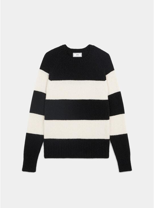Black / White Striped Crewneck Sweatshirt