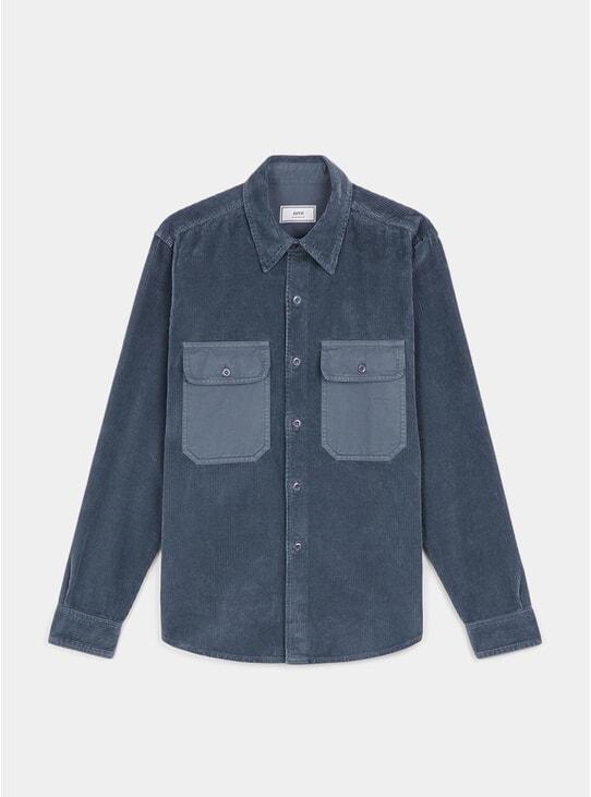Steel Blue Corduroy Overshirt