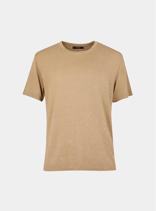 Camel Linen Knit T Shirt