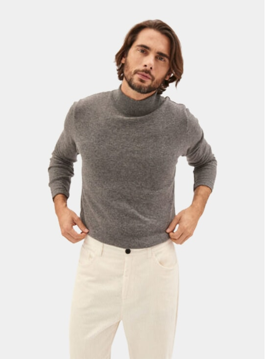 Grey High-Neck Cashmere Knitwear