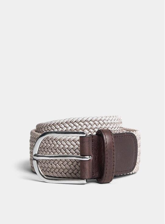 Beige Woven Elastic Belt