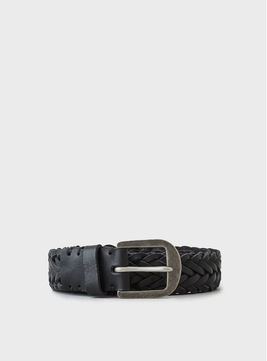 Pitch Black Pewter Braided Belt