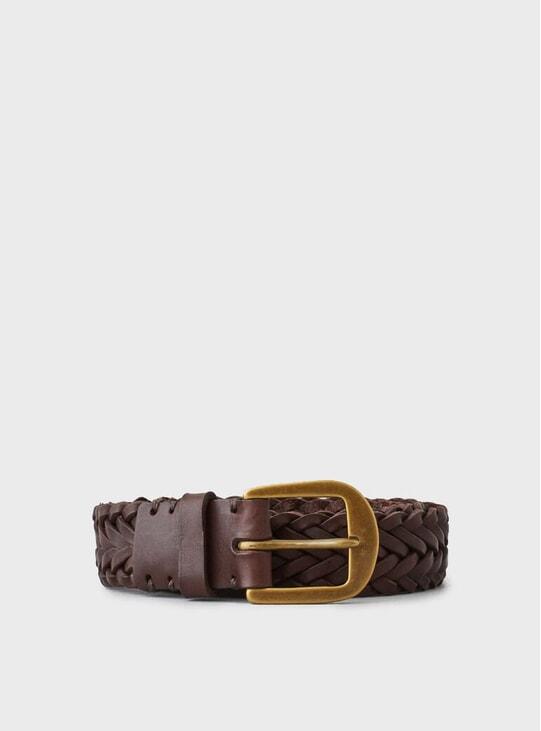 Walnut Brown / Brass Braided Belt