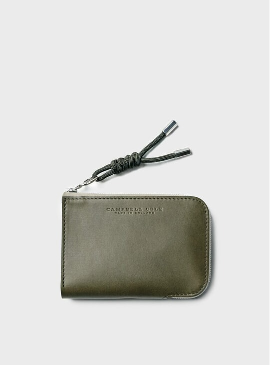 Khaki Simple Zip Corner Wallet