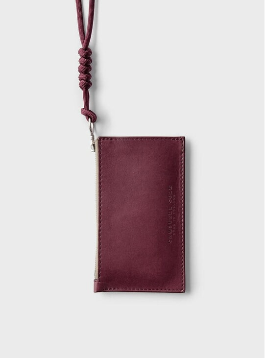 Burgundy Simple Coin Pouch w/ Lanyard