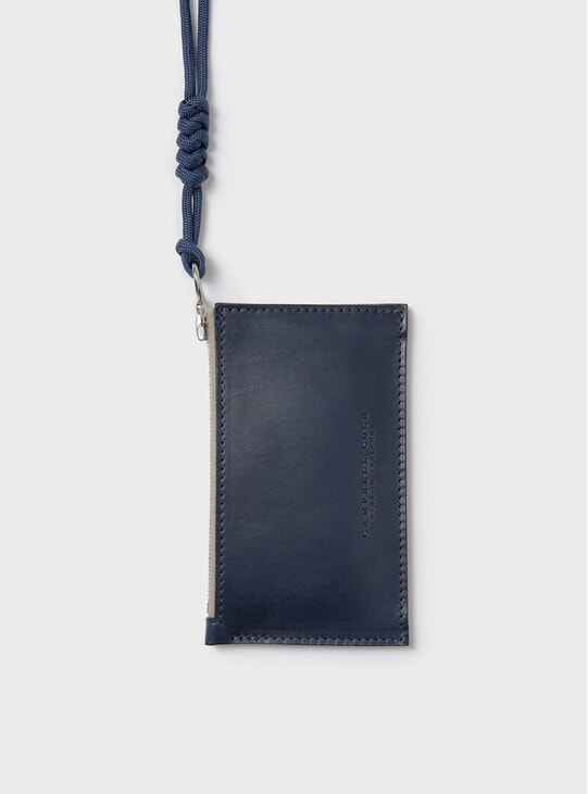 Navy Simple Coin Pouch w/ Lanyard