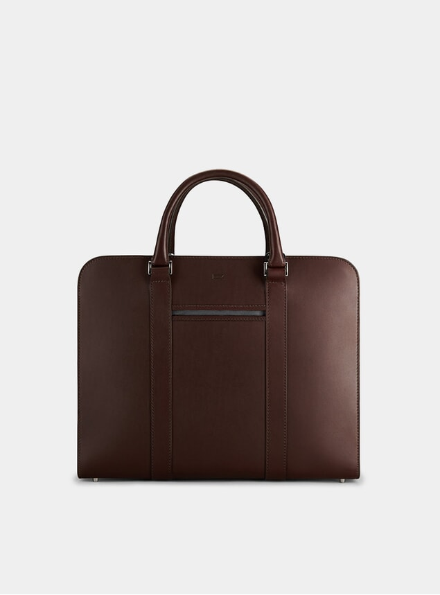Chocolate / Grey Palissy Double Briefcase