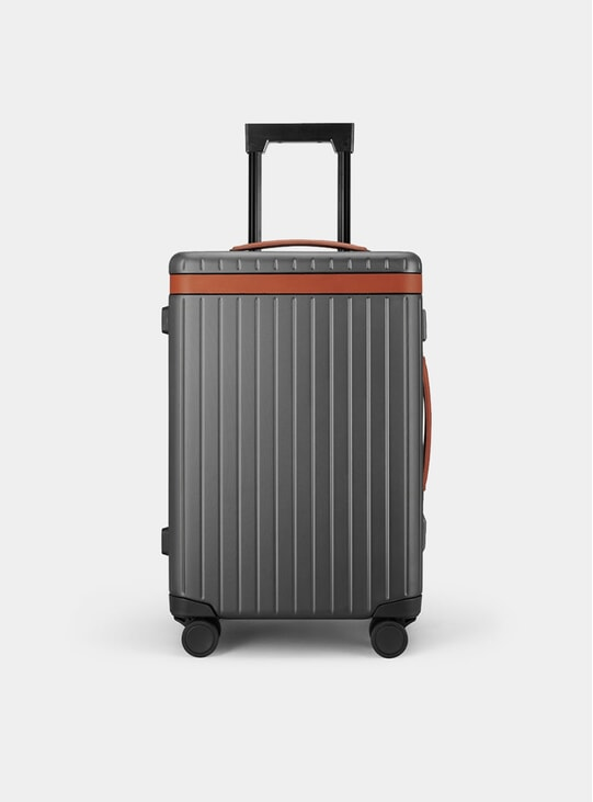 Cognac / Dark Grey Carry-on Suitcase
