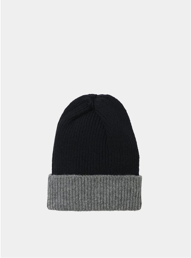 Grey Contrast Rib Lambswool Hat