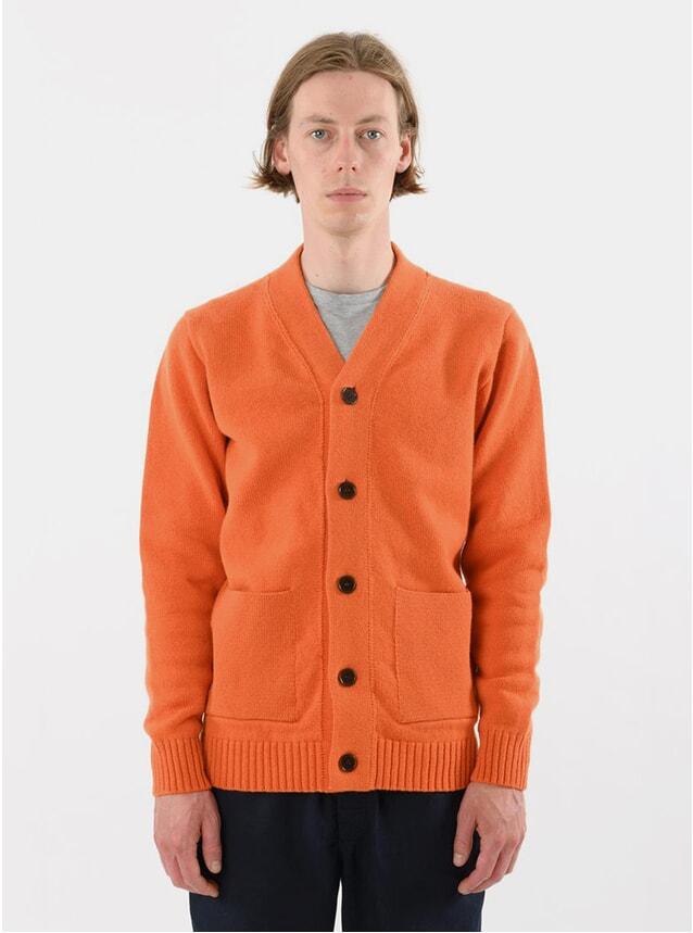 Orange Lambswool Cardigan