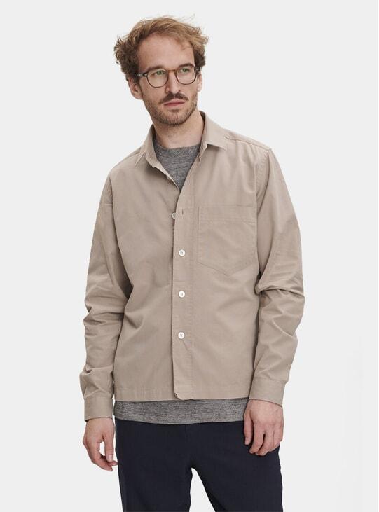 Beige Cotton Blend Overshirt