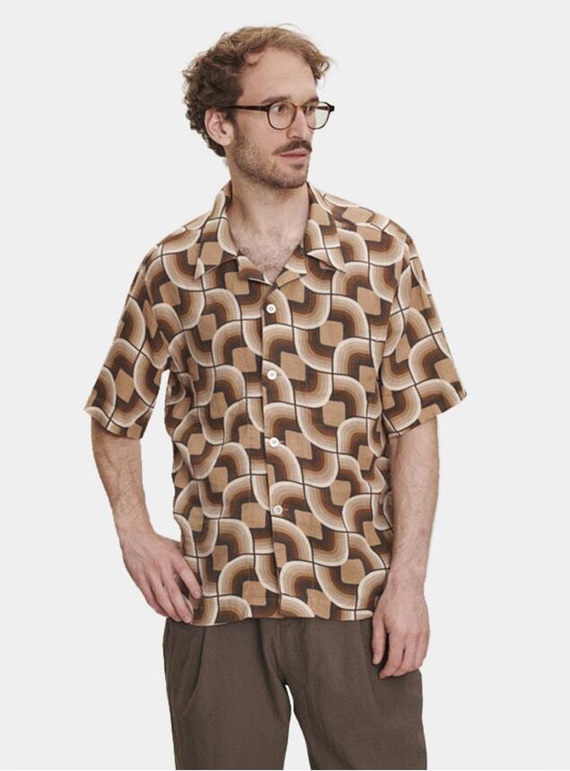 Early 60s Printed Linen Short Sleeve Shirt