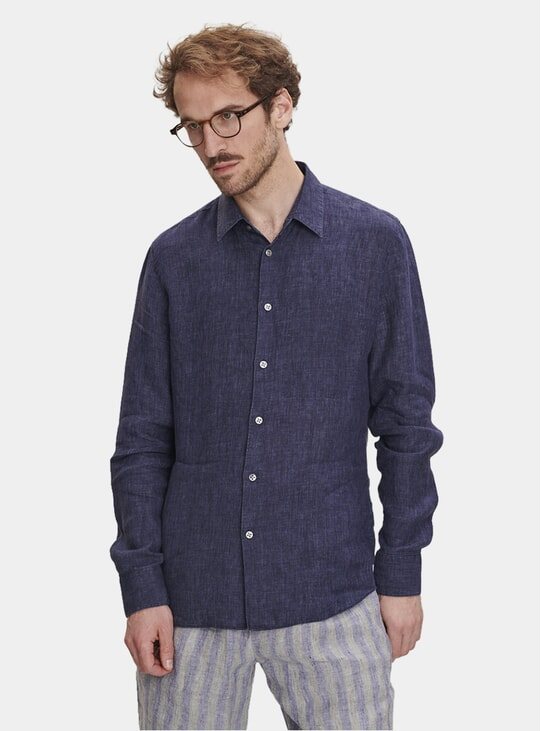 Navy Linen Feel Good Shirt