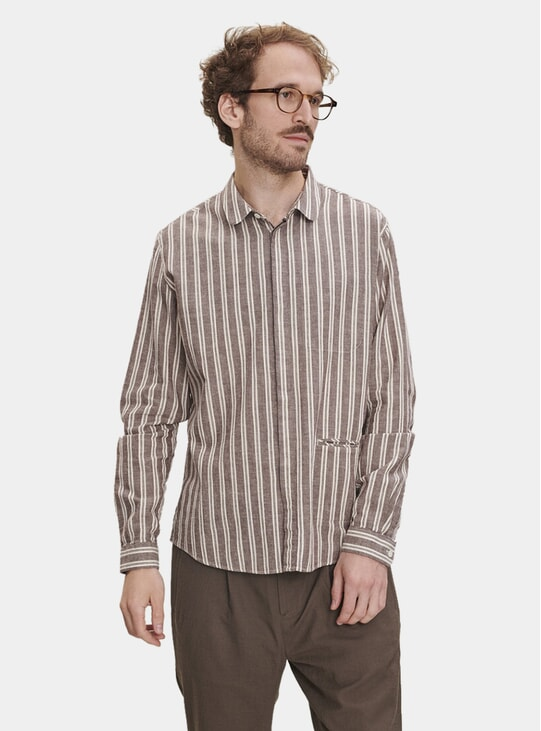 Round Collar Striped Cotton Shirt