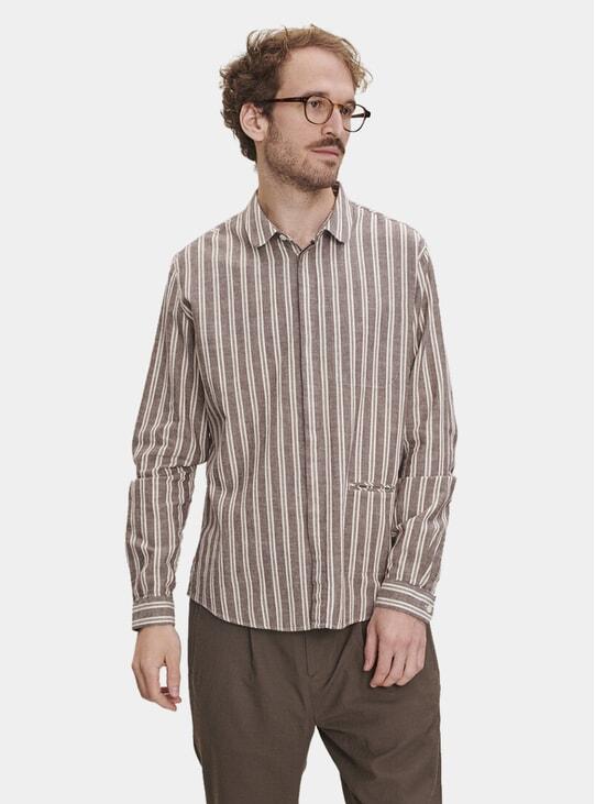 Round Collar Striped Cotton Shirt