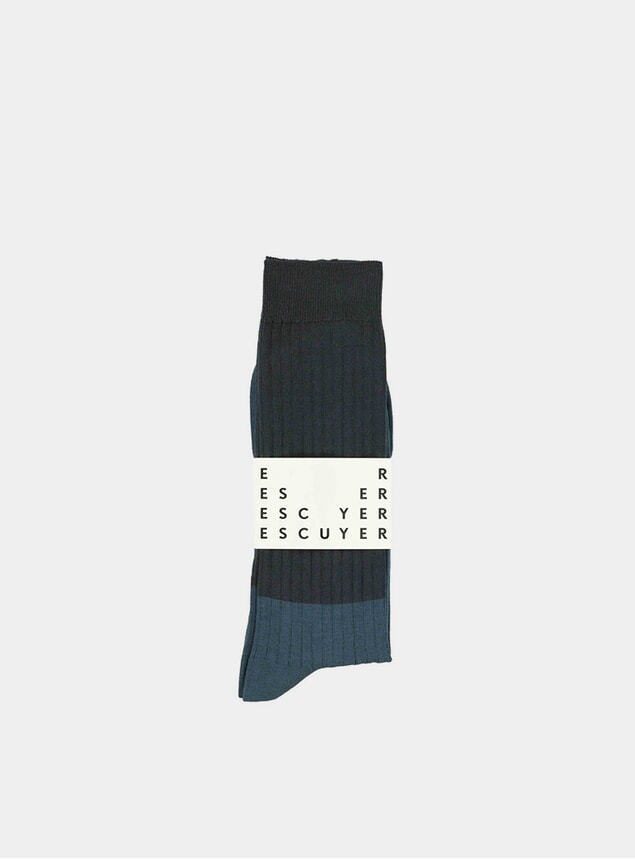 Night Sky / Coral Colour Blocks Socks