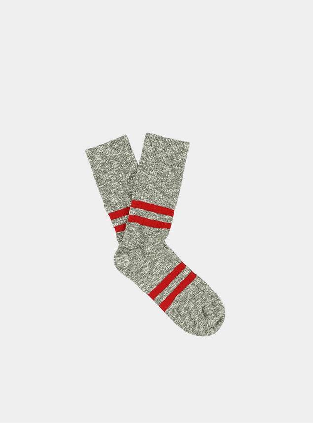 Red / Khaki Melange Stripes Socks