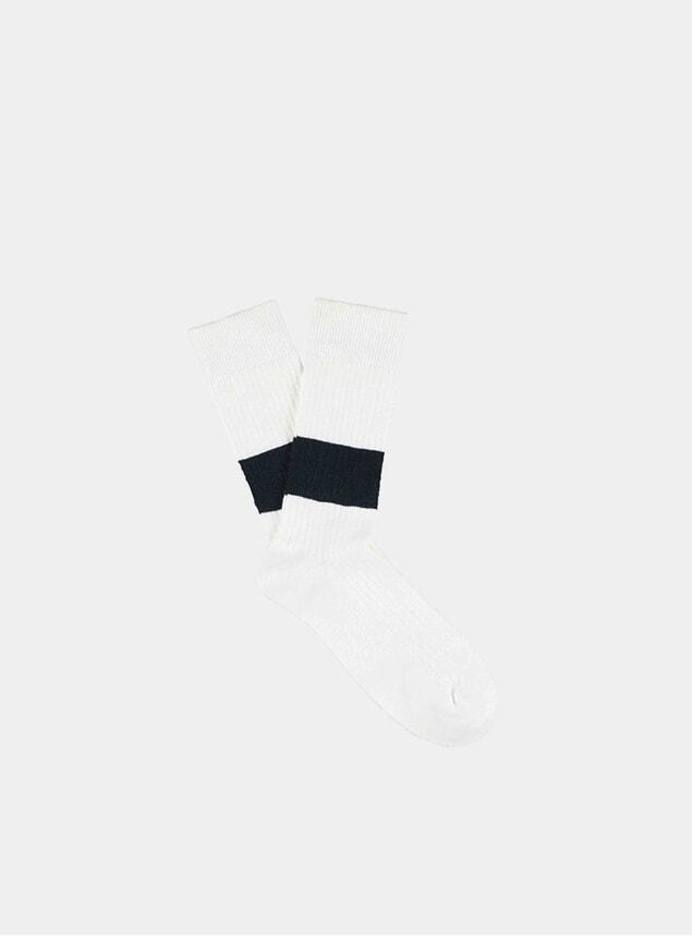 White / Blue Melange Band Socks