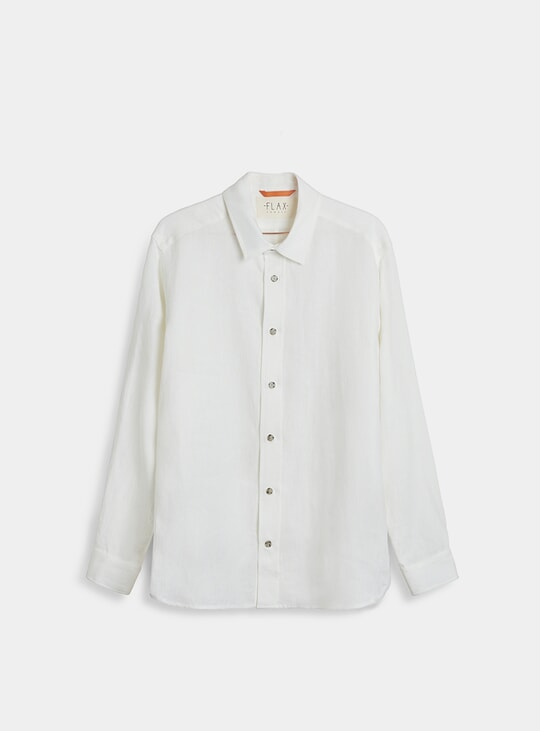 Off White Midweight Linen Signature Shirt