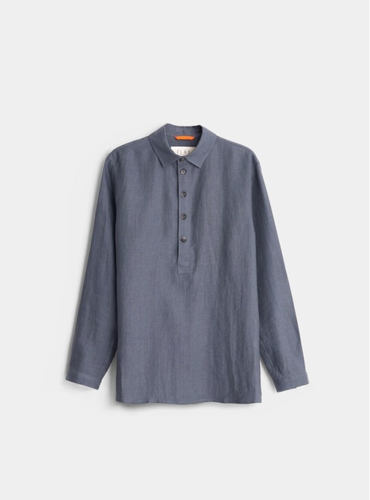 Slate Grey Winter Linen Smock Shirt