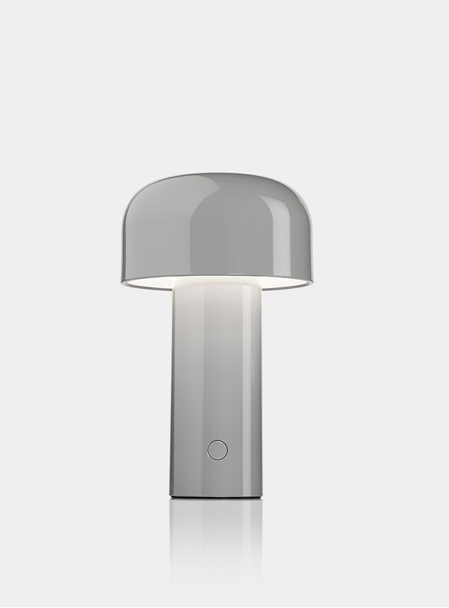 Glossy Grey Blue Bellhop Desk Lamp