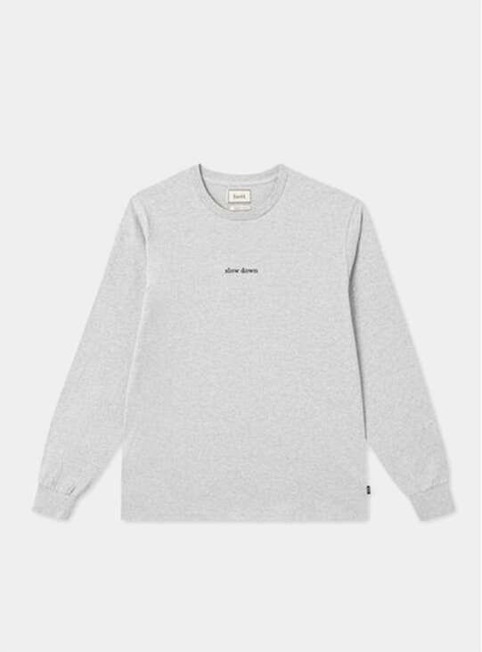 Light Grey Melange Down Longsleeve T Shirt