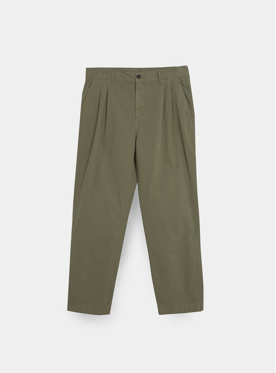 Light Olive Double Pleated Trousers