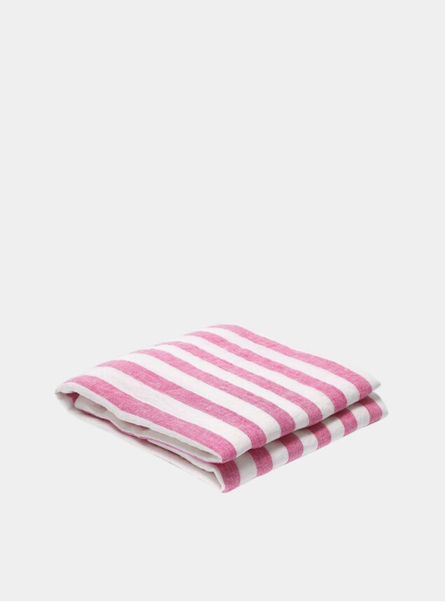 Pink / White Stripe Linen Beach Towel