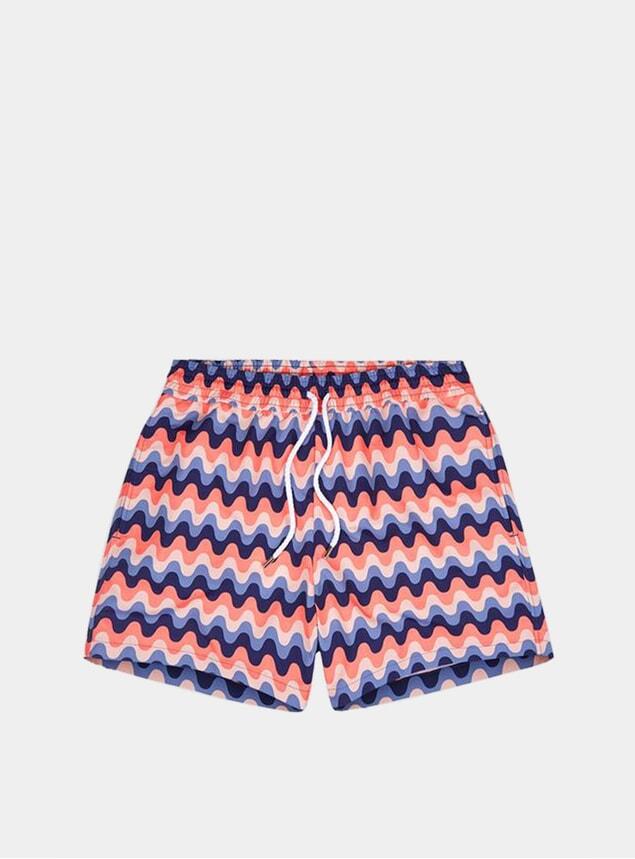 Coral / Navy Blue Copacabana Sport Swim Shorts
