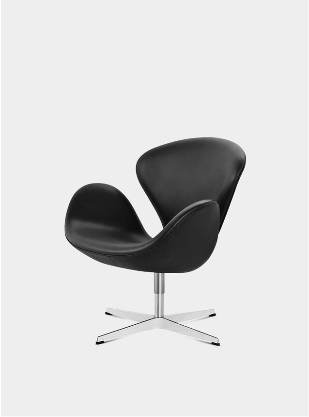 Black Grace Leather Swan Chair