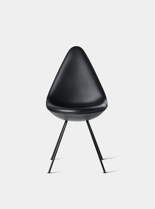 Black Leather Drop Chair