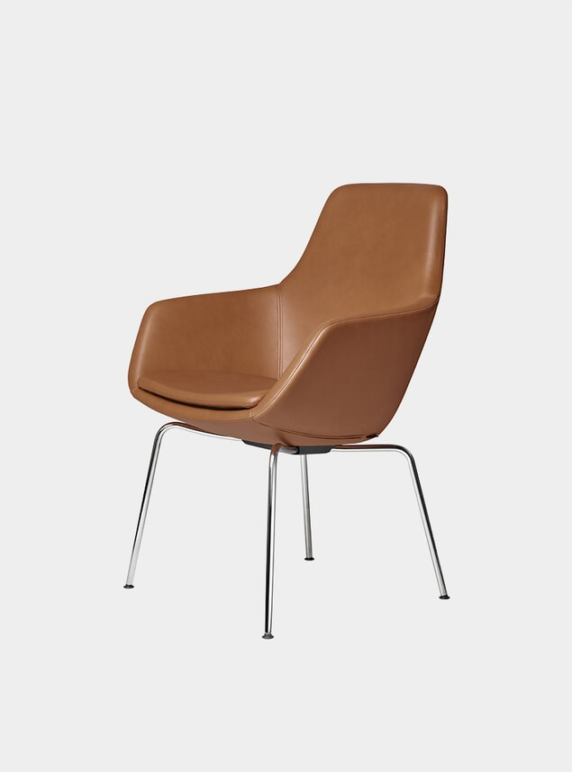 Grace Leather / Walnut / Chrome Little Giraffe Chair