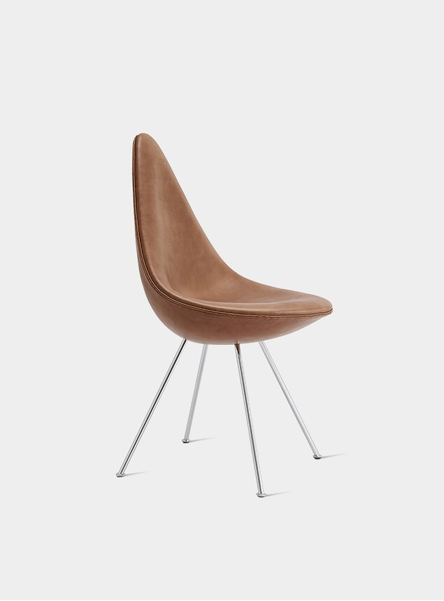 Walnut Grace Leather Drop Chair