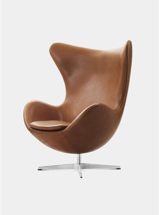 Walnut Grace Leather Egg Lounge Chair