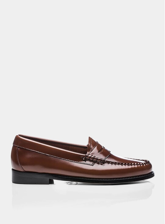 Cognac Penny Leather Loafers