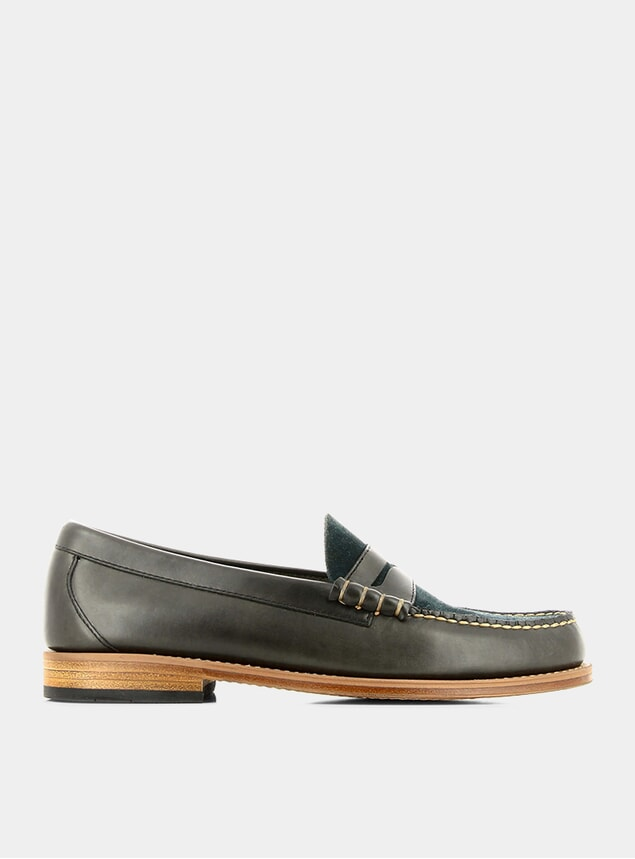 Navy Leather / Suede Mix Larson Penny Loafers
