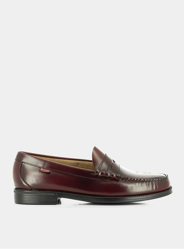 Wine Leather Larson Leather Penny Loafers